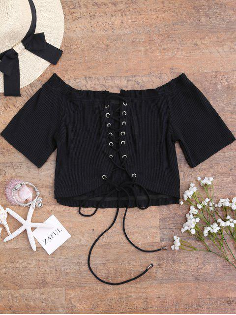 affordable Off Shoulder Ribbed Lace Up Cover Up Top - BLACK L Mobile