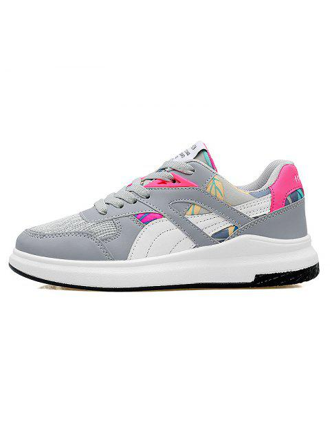 hot Color Block Mesh Running Athletic Shoes - GREY AND WHITE 39 Mobile