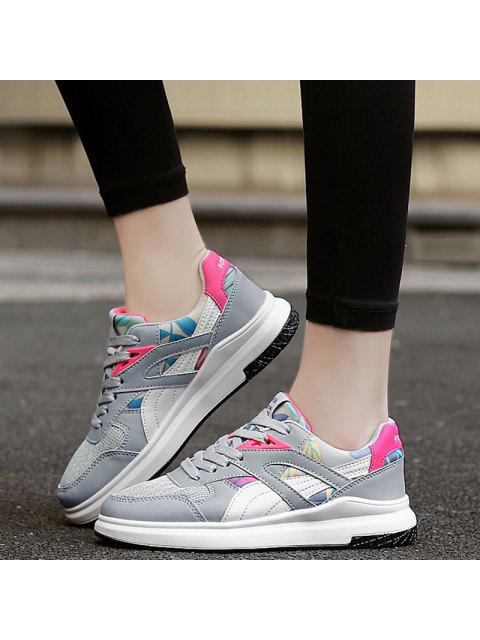 outfit Color Block Mesh Running Athletic Shoes - GREY AND WHITE 40 Mobile