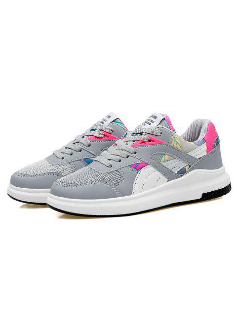 shop Color Block Mesh Running Athletic Shoes - GREY AND WHITE 38 Mobile