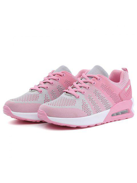 hot Color Block Breathable Air Cushion Athletic Shoes - PINK AND GREY 39 Mobile