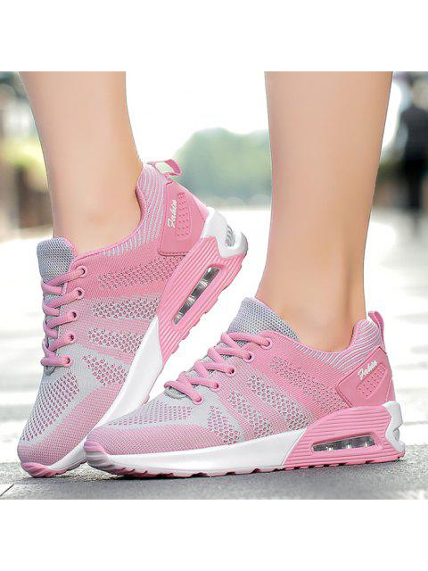 outfit Color Block Breathable Air Cushion Athletic Shoes - PINK AND GREY 40 Mobile