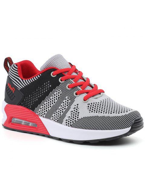 shop Color Block Breathable Air Cushion Athletic Shoes - BLACK AND GREY 40 Mobile