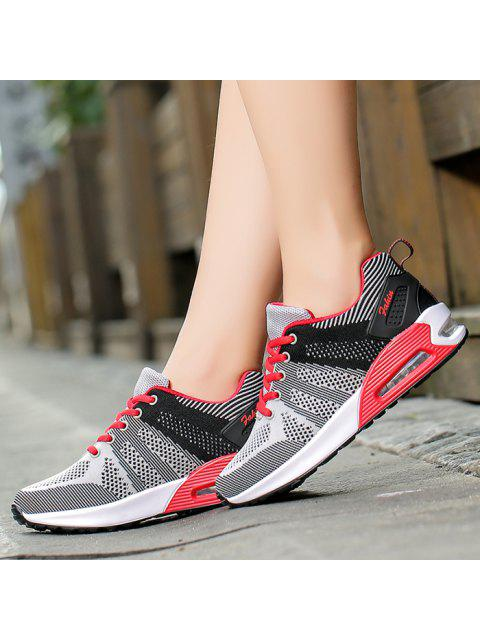 shops Color Block Breathable Air Cushion Athletic Shoes - BLACK AND GREY 37 Mobile