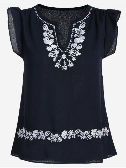 latest Ruffles Floral Embroidered Blouse - PURPLISH BLUE M Mobile