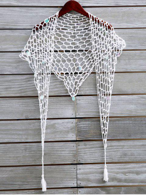 fashion Sequin Crochet Sarong - WHITE ONE SIZE Mobile