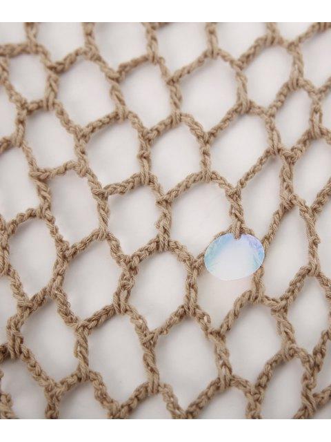 chic Sequin Crochet Sarong - KHAKI ONE SIZE Mobile