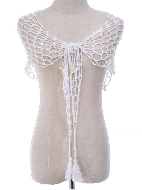 fancy Shell Crochet Sarong - WHITE ONE SIZE Mobile
