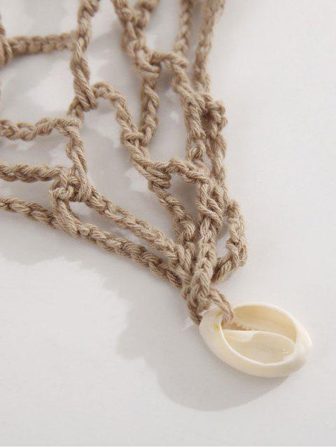 unique Shell Crochet Sarong - KHAKI ONE SIZE Mobile