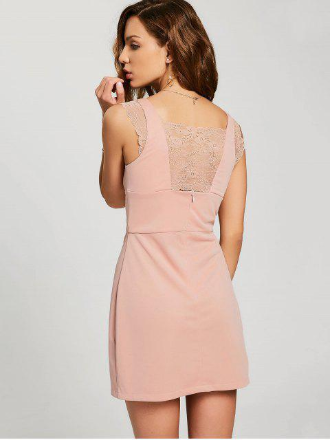 buy Lace-up Lace Panel Party Dress - PINK M Mobile