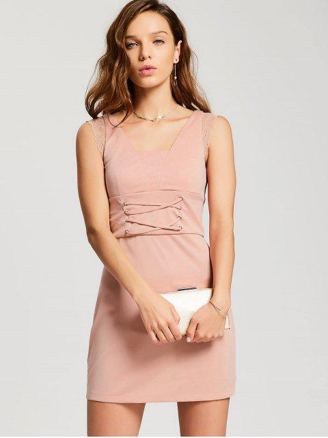 women Lace-up Lace Panel Party Dress - PINK XL Mobile