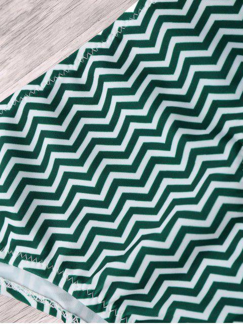 affordable Zigzag Bikini Bottoms - BLACKISH GREEN M Mobile