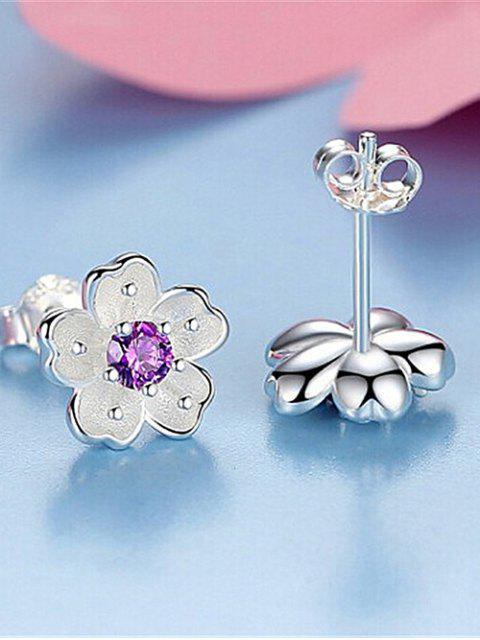 Boucles d'oreilles à fleurs avec faux cristal - Pourpre  Mobile