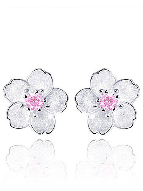lady Floral Earring Jackets with Faux Crystal - PINK  Mobile