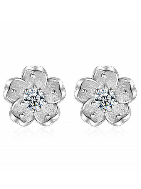 Pendientes florales con falso cristal - Blanco  Mobile