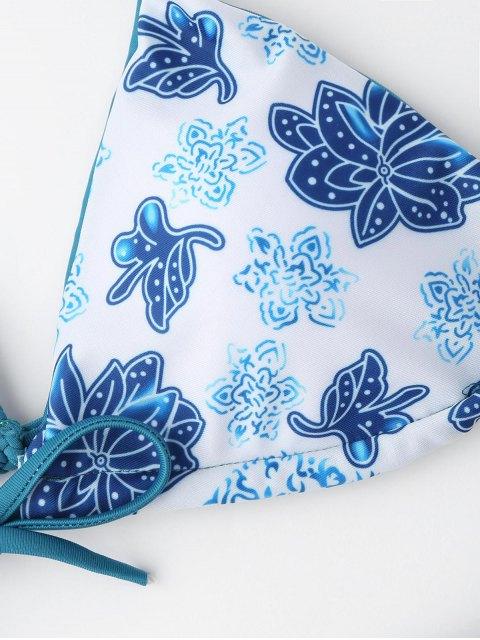 women's Braided Floral String Bikini Set - BLUE AND WHITE L Mobile