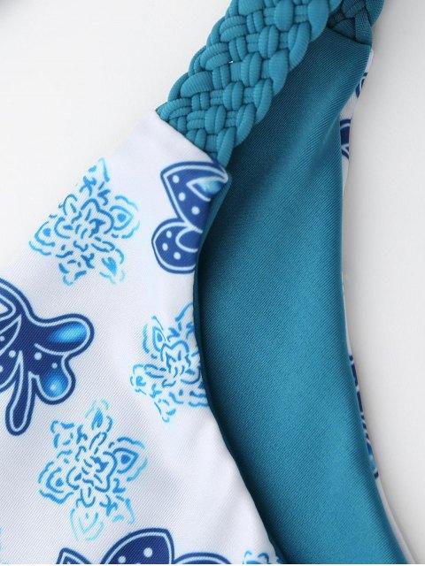 ladies Braided Floral String Bikini Set - BLUE AND WHITE M Mobile