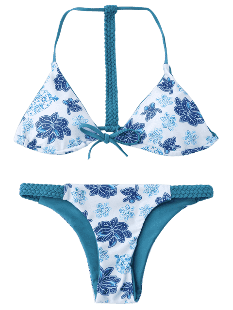lady Braided Floral String Bikini Set - BLUE AND WHITE S Mobile
