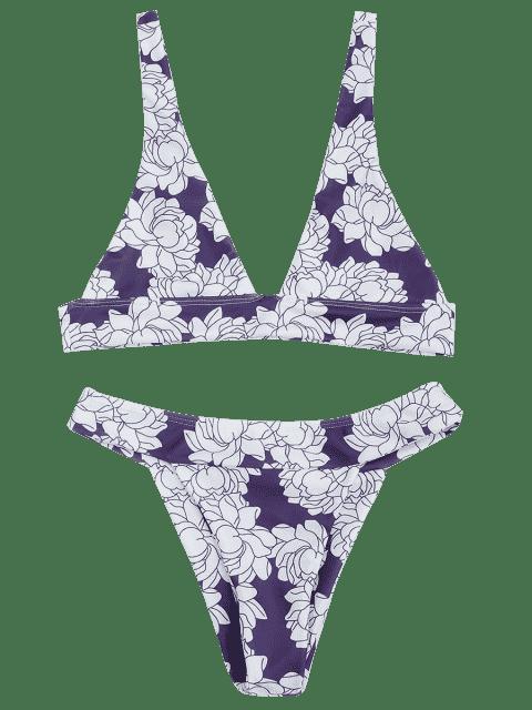outfit Floral Bralette Bikini Set - WHITE + PURPLE M Mobile