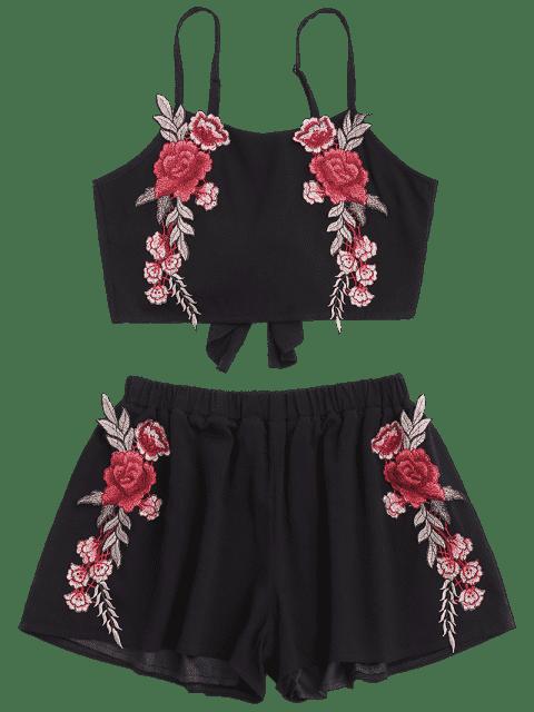 Applique Bowknot Top avec Shorts - Noir M Mobile