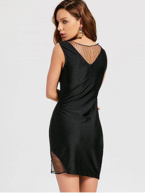online Mesh Panel Asymmetrical Party Dress - BLACK L Mobile