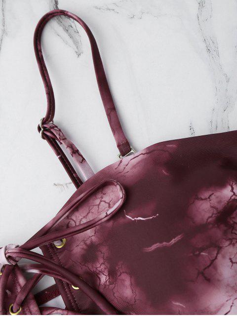 Maillot de Bain Tie Dye à Lacets - Rouge vineux  S Mobile