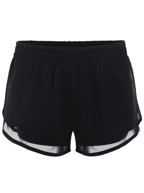 outfits Mesh Double Layered Running Shorts - BLACK L Mobile