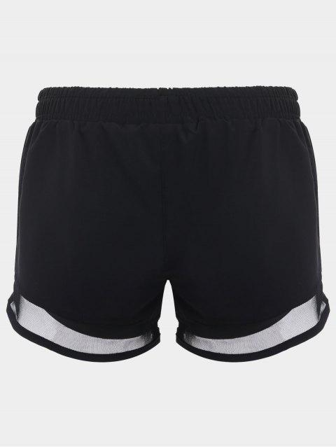 shop Mesh Double Layered Running Shorts - BLACK M Mobile