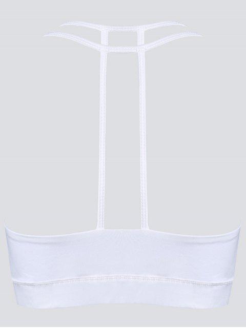 fancy Quick Dry Strappy Sports Bra - WHITE M Mobile