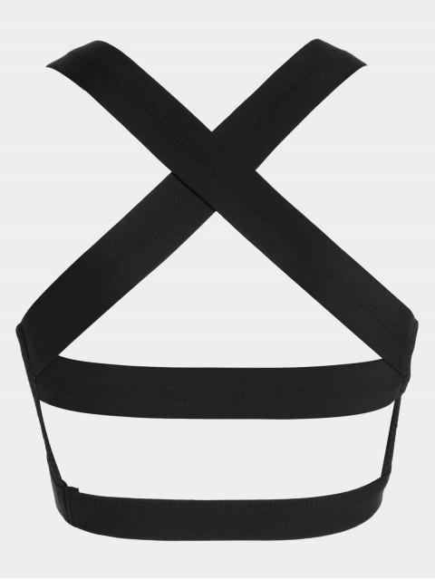 Soutien-gorge de sport en découpe en croûte en maille - Noir XL Mobile