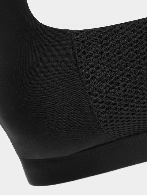 lady Mesh Panel Crisscross Cutout Sports Bra - BLACK L Mobile