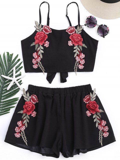 hot Applique Bowknot Top with Shorts - BLACK L Mobile