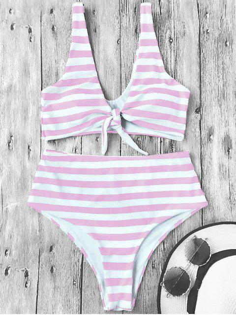 fancy Knotted Striped High Waisted Bikini Set - PINK AND WHITE M Mobile
