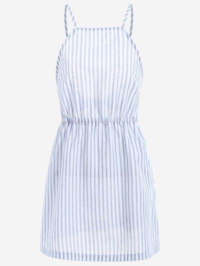 Open Back Striped Cami Dress - Light Blue M