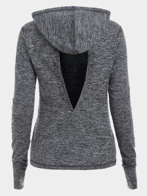 Cut Out Back Crossover Heathered Hoodie - Gray M