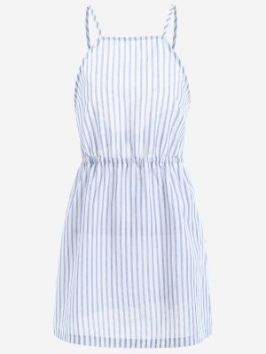 Open Back Striped Cami Dress - Light Blue S
