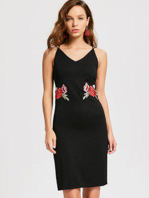 Flower Applique Slit Party Dress - Noir M