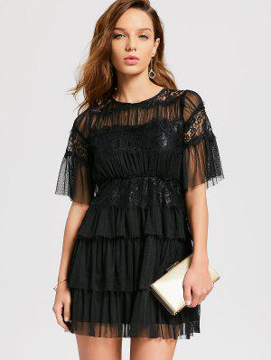 Robe De Cocktail En Tulle Multicouche - Noir Xl