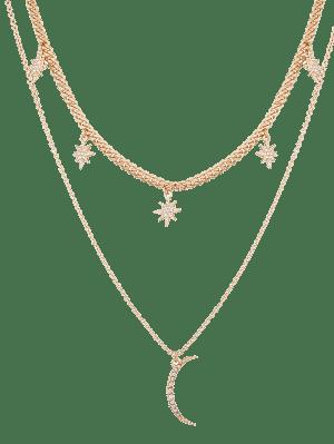 Rhinestone Moon Sun Layered Pendant Necklace - Dourado