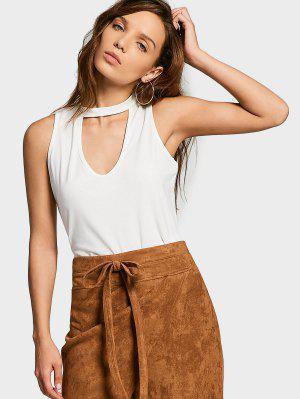 Camiseta Sin Mangas De Algodón Recortada - Blanco S