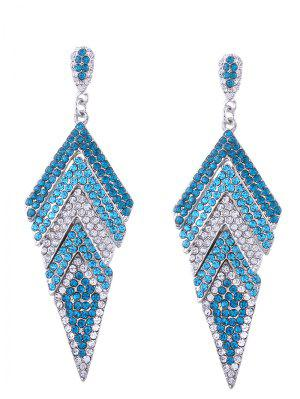 Sparkly Rhinestoned Geometric Dangle Earrings - Blue
