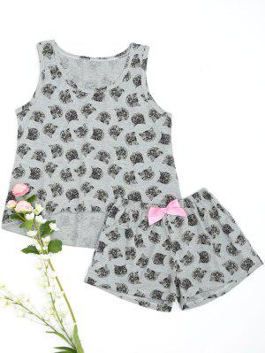 Cute Gatito Cat Top Con Pantalones Cortos Loungewear - Gris 2xl