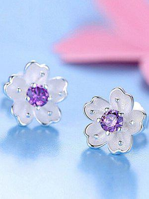 Floral Earring Jackets With Faux Crystal - Purple