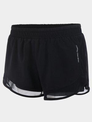 Mesh Double Layered Running Shorts - Black S