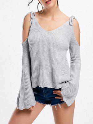 Cold Shoulder Bell Sleeve Bowknot Sweater - Gray