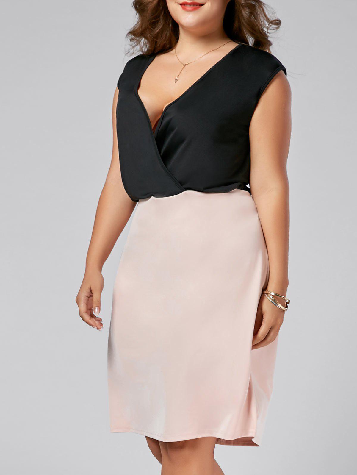 Plus Size V Neck Sleeveless Sheath Dress