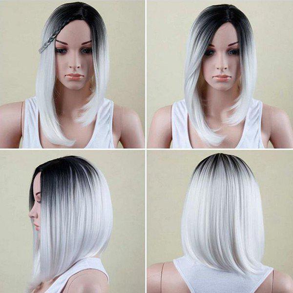 Medium Side Part Colormix Asymmetric Straight Bob Synthetic Wig 221454001
