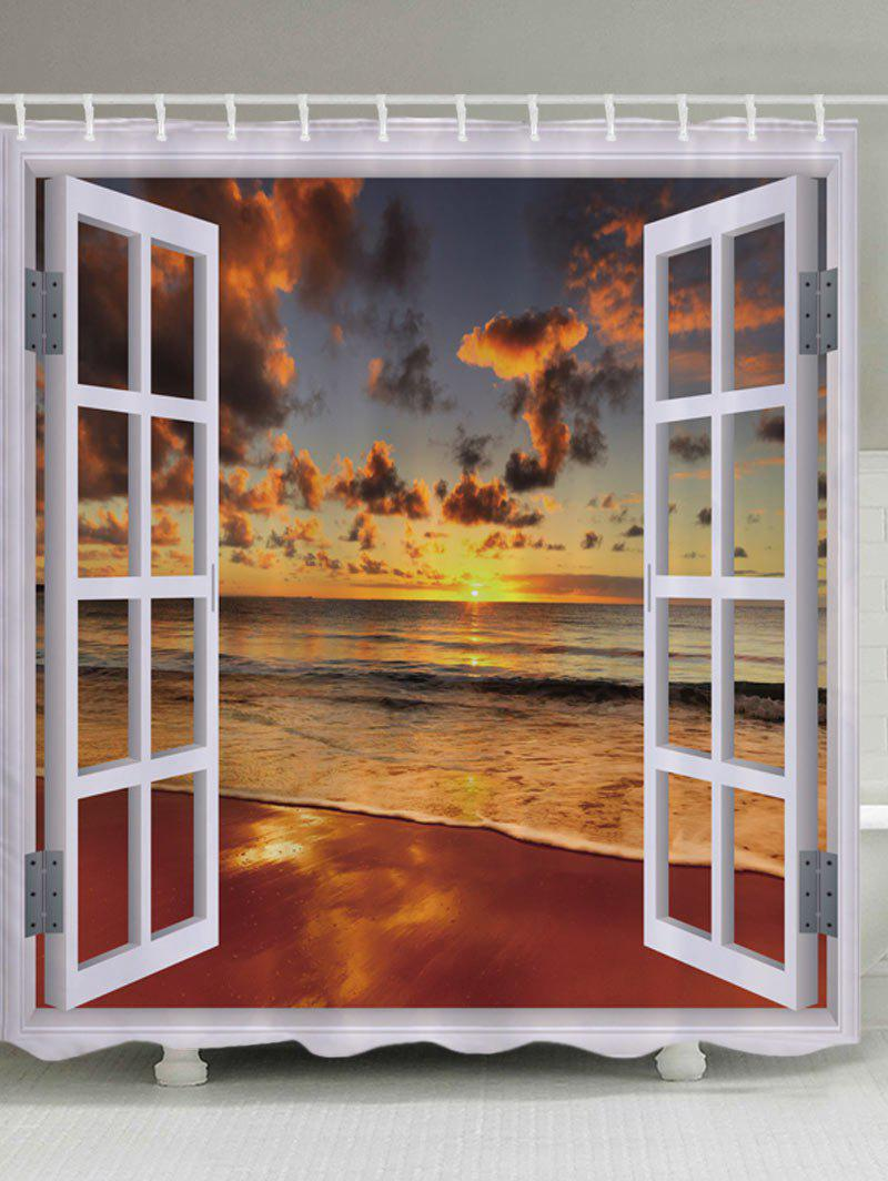 Window Beach Sunset Print Waterproof Bathroom Shower Curtain