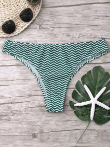 Pantalones De Bikini Zigzag - Verde Negruzco S
