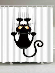 شقي القط المطبوعة ماء دش الستار - أبيض وأسود W65 بوصة * L71 بوصة